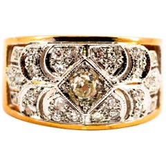 Renaissance 0.65 Carat White Diamond Yellow Gold White Gold Band Ring