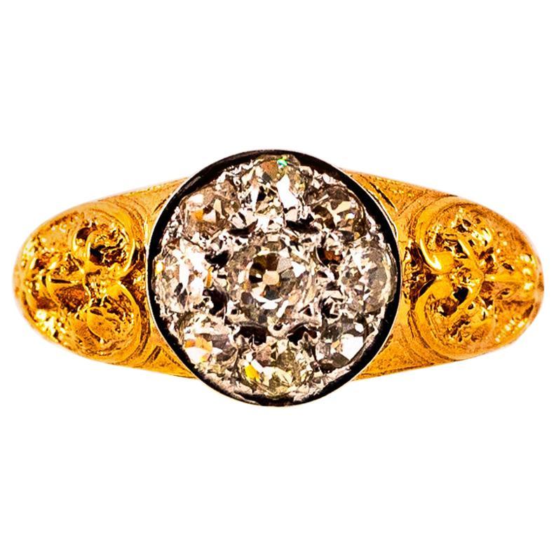 Renaissance 0.80 Carat White Old European Cut Diamond Yellow Gold Cocktail Ring