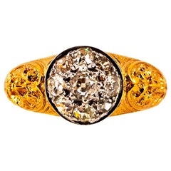 Renaissance 0.80 Carat White Old European Cut Diamond Yellow Gold Cocktail Ring