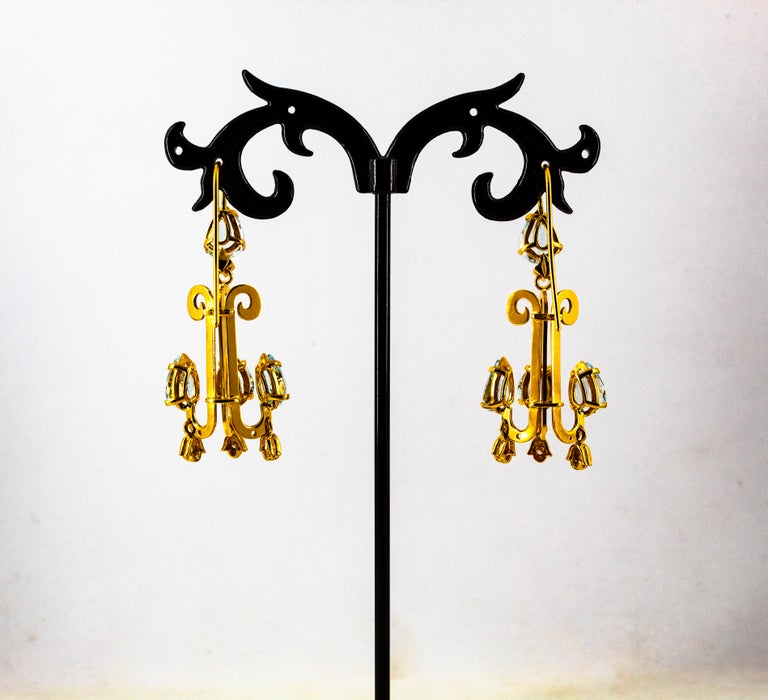 Renaissance 10.36 Carat White Diamond Aquamarine Yellow Gold Chandelier Earrings For Sale 6