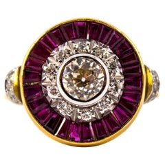 Renaissance 1.15 Carat White Diamond 1.35 Carat Ruby Yellow Gold Cocktail Ring