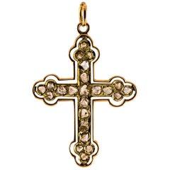 Kreuz Anhänger Halskette aus Gelbgold mit 1,30 Karat weißem Diamanten m Rosenschliff