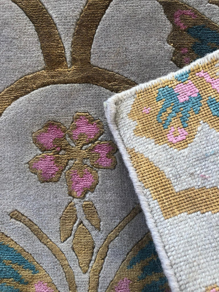 Renaissance is a hand knotted wool and silk rug by Scottish designer Wendy Morrison. The rug is handcrafted in India using only the finest wool and silk and is Goodweave certified, meaning you can be confident that no child labour has been used