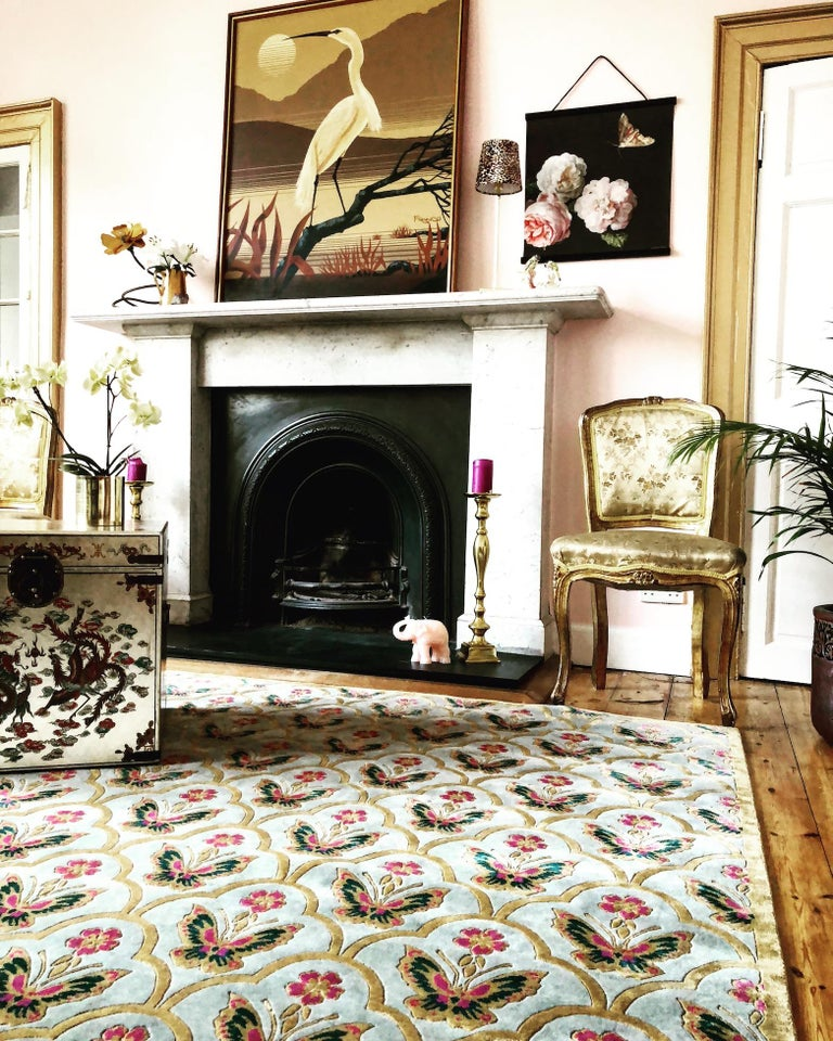 Hand-Knotted Renaissance Hand Knotted Wool and Silk Rug by Wendy Morrison For Sale