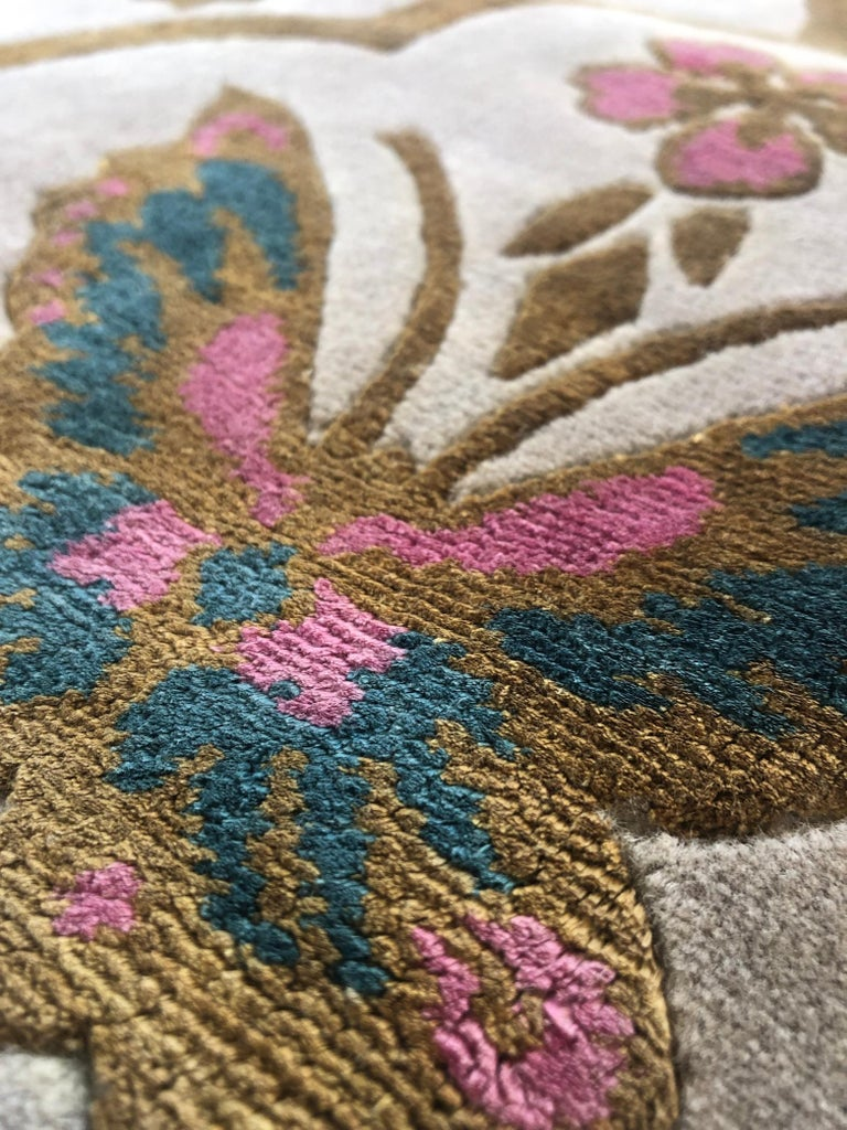 Renaissance Hand Knotted Wool and Silk Rug by Wendy Morrison For Sale 1