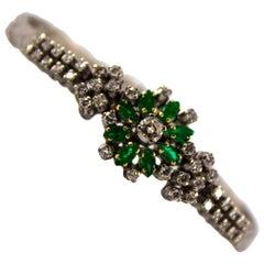 Renaissance 1,60 Karat Smaragd 1,50 Karat weißen Diamanten Weißgold Armband