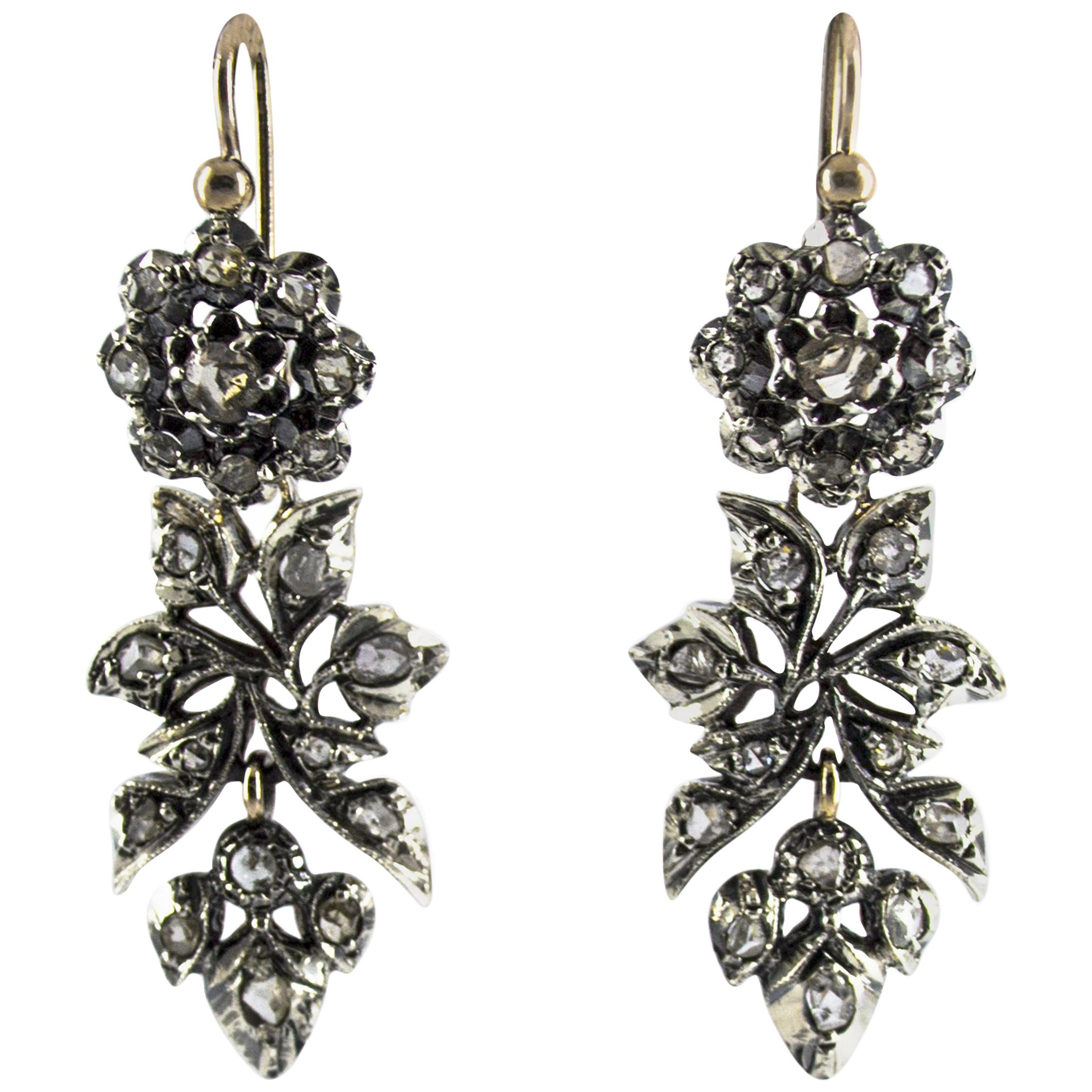 Renaissance 1.60 Carat White Rose Cut Diamond Yellow Gold Lever-Back Earrings