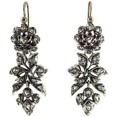 Renaissance 1.60 Carat White Rose Cut Diamond Yellow Gold Lever-Back Earrings