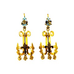 Renaissance 2.66 Carat White Diamond Aquamarine Yellow Gold Chandelier Earrings