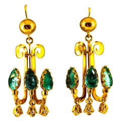 Renaissance 5.12 Carat White Diamond Emerald Yellow Gold Chandelier Earrings