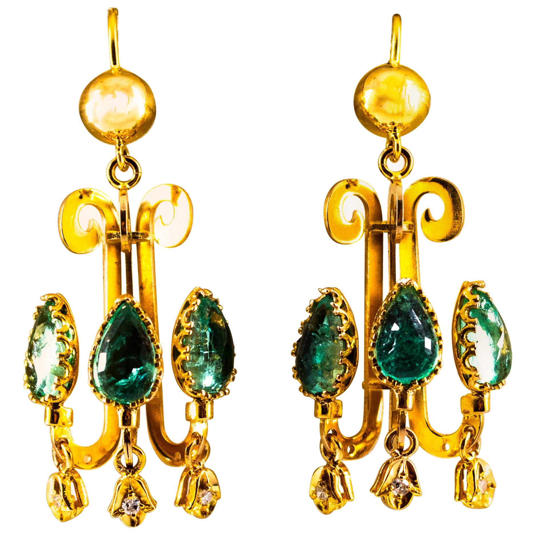 Renaissance 5.82 Carat White Diamond Emerald Yellow Gold Chandelier Earrings