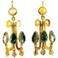 Renaissance 5.82 Carat White Diamond Emerald Yellow Gold Chandelier Earrings