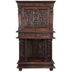 Renaissance Cabinet in Richly Carved Oak, circa 1600