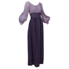 Renaissance Fairy Purple Bishop Sleeve Crochet Maxi Dress - M-L, 1970s