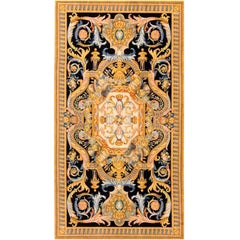 Renaissance French Style Savonnerie Rug, Black/Gold