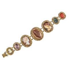 Renaissance Gilt Copper Enamel Cameos and Intaglios Bracelet