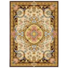 Renaissance Gold Hand Knotted Silk Rug 'Large-Size'