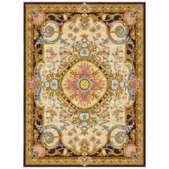 Renaissance Gold Hand Knotted Silk Rug 'Medium-Size'