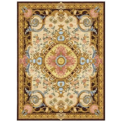 Renaissance Gold Hand Knotted Silk Rug 'Small-Size'
