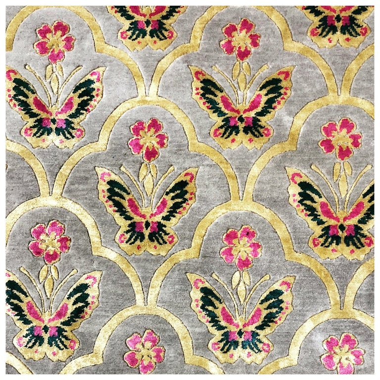 Renaissance Hand Knotted Wool and Silk Rug by Wendy Morrison For Sale