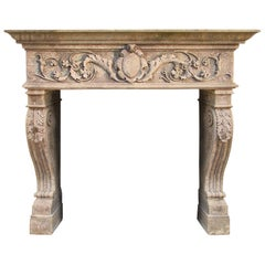 Renaissance Italian Style Fireplace Handcrafted in Pure Limestone, Acanthus