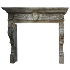Renaissance Italian Style Fireplace Handcrafted Pure Limesotne Antique Patina