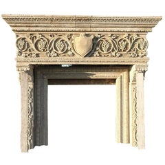Renaissance Italian Style Fireplace Handcrafted Pure Limestone Acanthus Leaves
