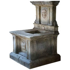 Renaissance Italian Style Wall Fountain, Handcrafted in Limestone, Lions Head