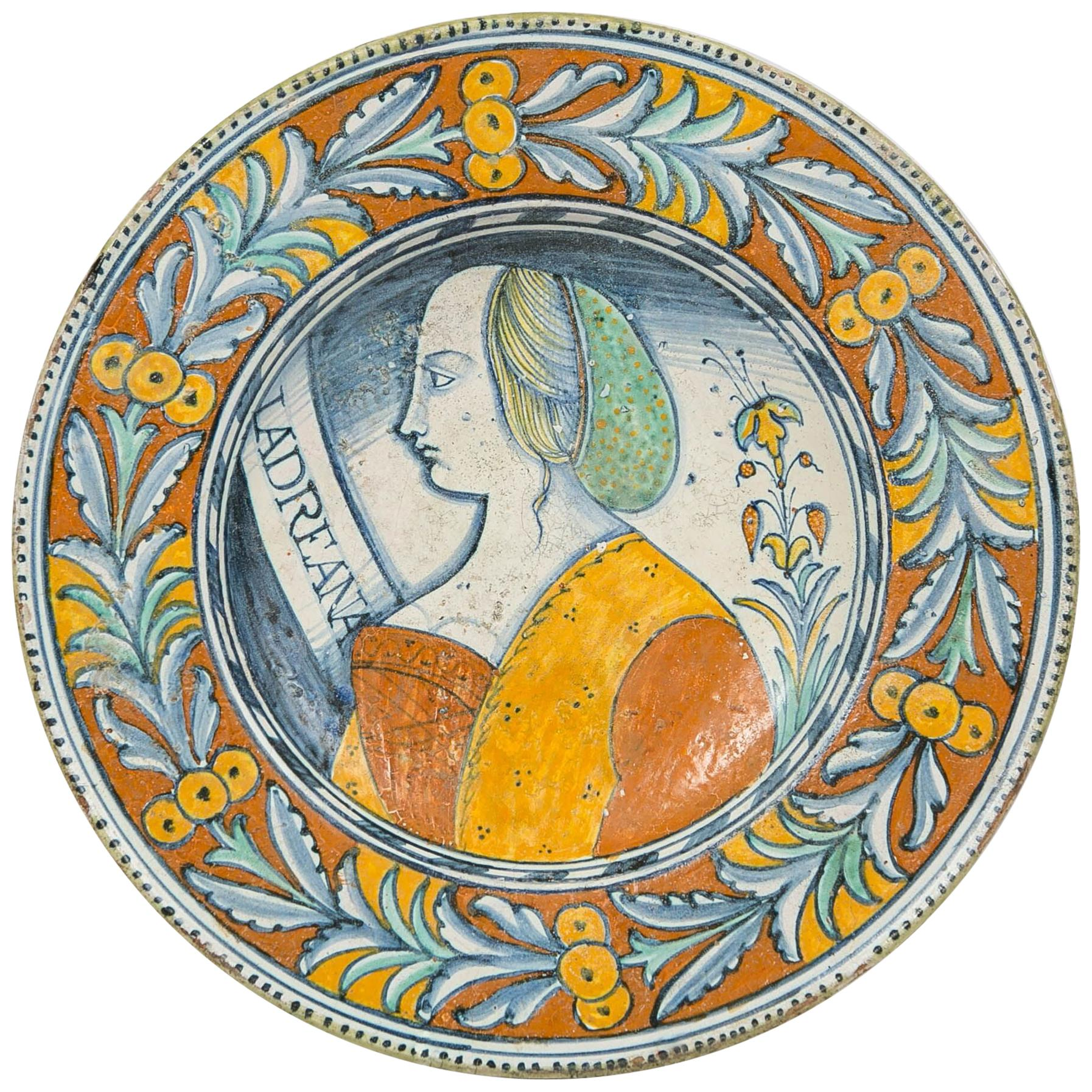 Renaissance Maiolica Portrait Charger Made in Deruta, Italy, circa 1530