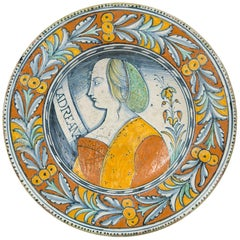 Renaissance Maiolica Portrait Charger Made in Deruta, Italy, circa 1530