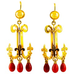 Renaissance Mediterranean Red Coral Yellow Gold Stud Chandelier Drop Earrings
