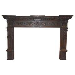 Renaissance Oak Fireplace Surround and Mantel, circa 1880