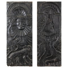 Renaissance Period Hand Carved Oak Panels, 16th Century