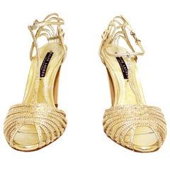 Renaissance Ralph Lauren Jacoba Metallic Gold W/Gold Tone Crystals Strappy Heels