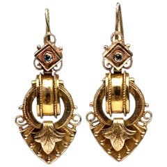 Renaissance Revival 14 Karat Yellow Gold Drop Earrings