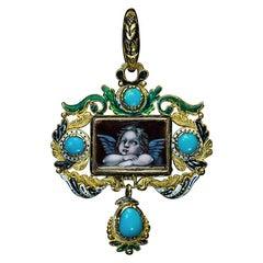 Renaissance Revival Antique Gold Enamel Turquoise Pendant