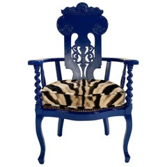 Renaissance Revival Armchair with Zebra Hide Cushion