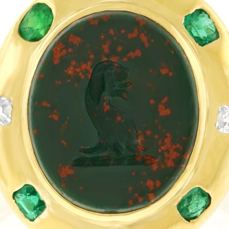 Renaissance Revival Bloodstone Signet Ring 18 Karat, circa 1890s For Sale 3