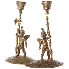 Renaissance Revival Bronze Allegorical Gladiator Figure Candlesticks