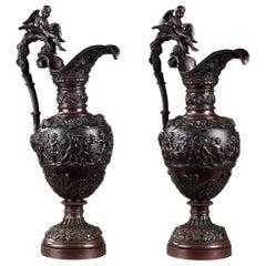 Renaissance Revival Bronze Ewers by Alphonse Giroux