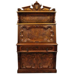 Renaissance Revival Carved Burl Walnut Secretary Writing Desk Slant Drop Front
