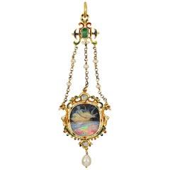 Renaissance Revival Carved Opal Cameo Pendant