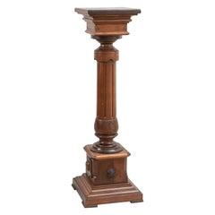 Renaissance Revival Carved Walnut Pedestal w/ Brass Medallions, ca. 1870's
