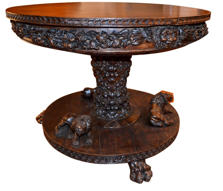 19th Century  English 19 Century Renaissance Revival Center Table For Sale