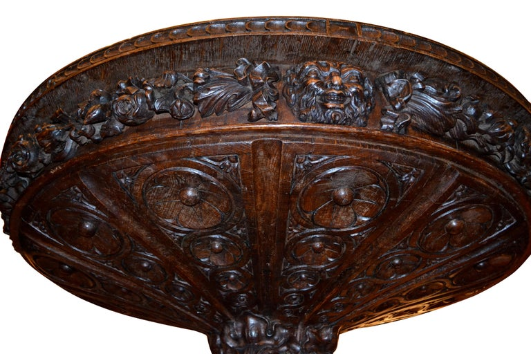 Oak  English 19 Century Renaissance Revival Center Table For Sale