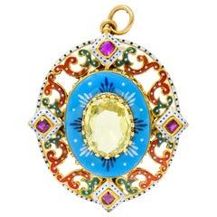 Renaissance Revival Chrysoberyl Ruby Enamel 14 Karat Gold Pendant