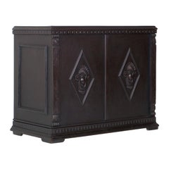Renaissance Revival Console Occasional Table Desk Cabinet Carved Ebonized Wood