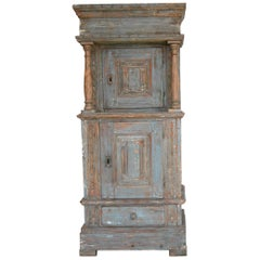 Renaissance-Revival Danish Cabinet in Blue Paint with Red Interior, ca. 1750