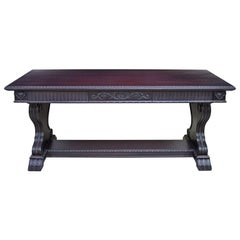 Renaissance-Revival Desk in Black Umber with Trestle Base, Grand Rapids
