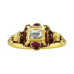 Renaissance Revival Diamond and Ruby Ring